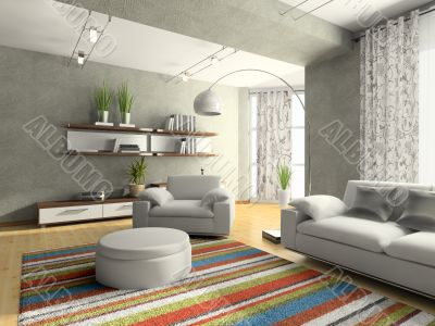Home interior of drawing-room 3D rendering