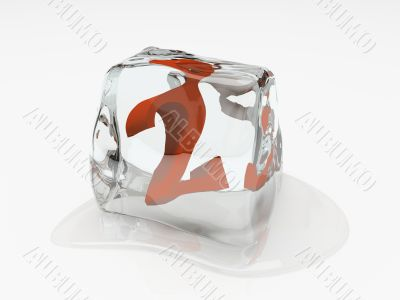 Numeral two in ice cube 3D rendering
