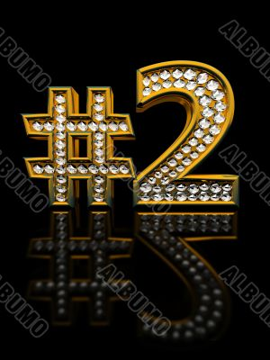 Modern numeral two isolated on black background