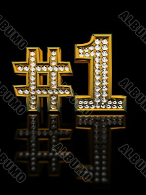 Modern numeral one isolated on black background