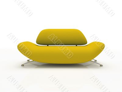 Yellow sofa on white background  insulated 3d