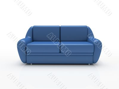 Blue sofa on white background  insulated 3d