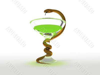 Golden snake on white background medical symbol