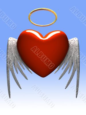 Red heart-angel with wings isolated on gradient