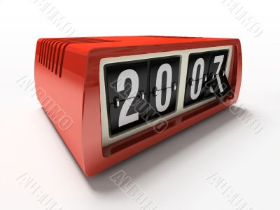 Red watch - counter on white background New year