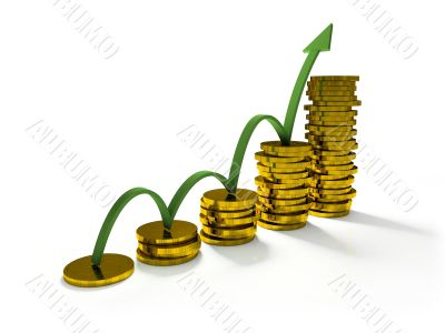 Business Graph with arrow and coins showing profits and gains