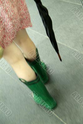 woman in waterproof wellington boot