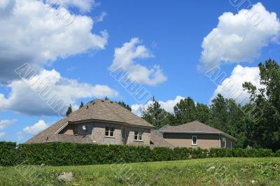 New house in a rich suburban neighborhood