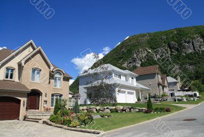 New houses in a rich suburban neighborhood