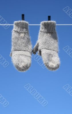 Mittens hanging to dry
