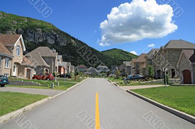 Rich suburban neighborhood near the mountain