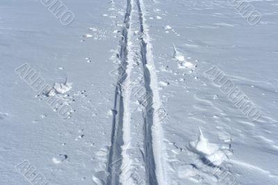 Ski track crossing a winter terrain