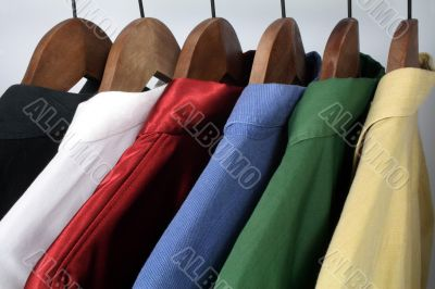 Man`s clothing, choice of colorful shirts