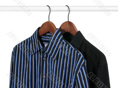 Two shirts on a rack
