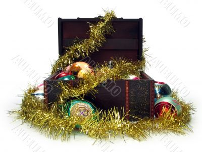 Treasure chest full of Christmas decorations