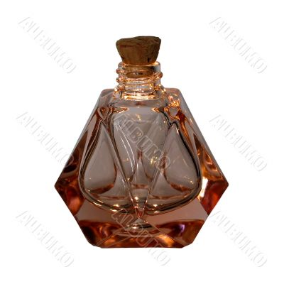 Antique glass perfume bottle, isolated
