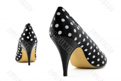 Retro high heel polka shoes