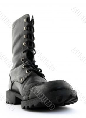 Army style black leather boot
