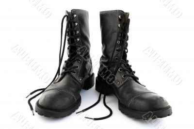 Army style black leather boots with laces