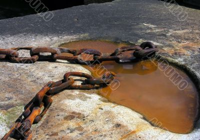 Close up of old rusty metal chain links. Security concept.