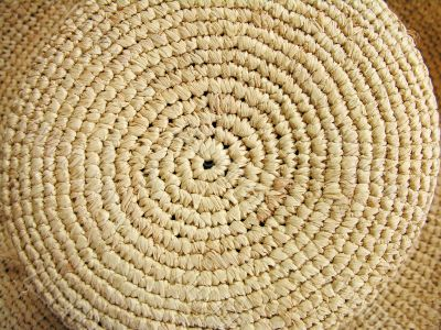 A top of a straw hat, close-up