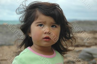 Cute little girl crying.