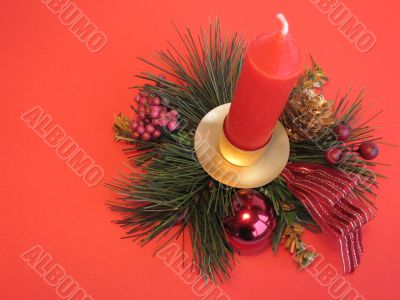 Christmas decoration with red candle