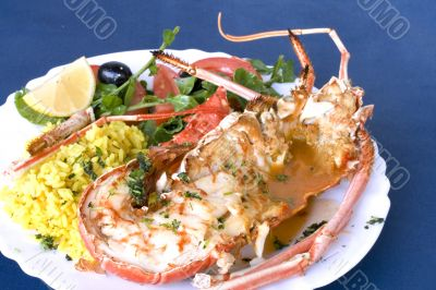 Spine Lobster drill with shellfish sauce, rice and salad