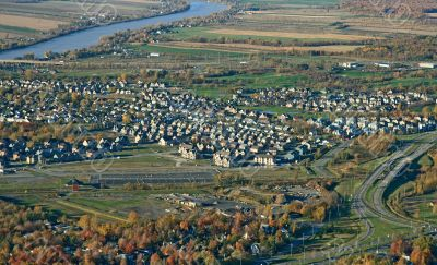 Aerial view of town and highway