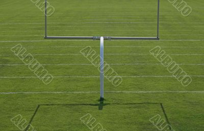 American football playing field with goal posts