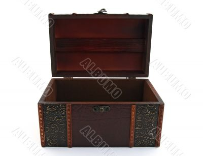 Empty wooden treasure chest