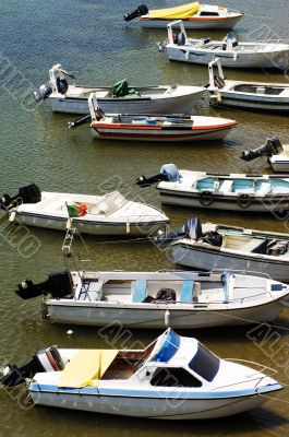 Motorboats moored