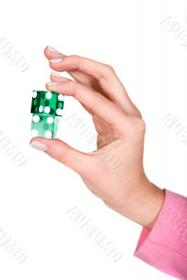 hand holding dices