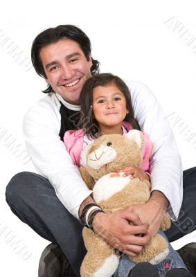 girl and her dad over white