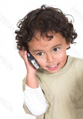 cute kid talking on the phone
