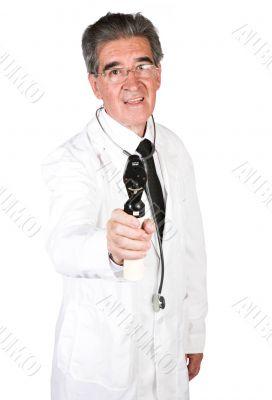 friendly senior male doctor
