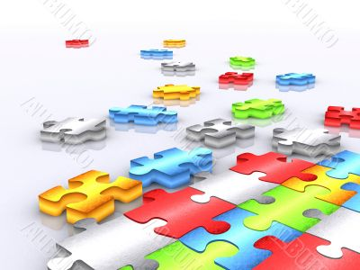 colourful unfinished puzzle - 3d render 2