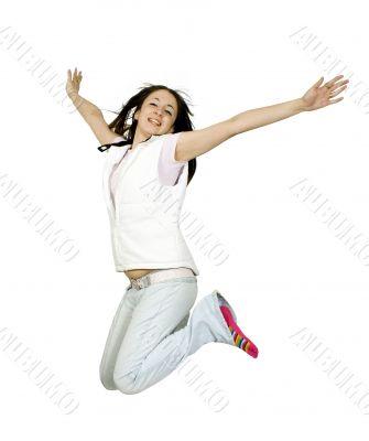 casual teen jumping of joy