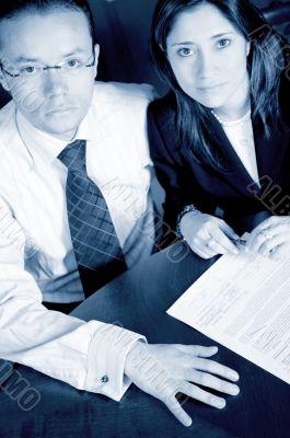 business partners in cyan