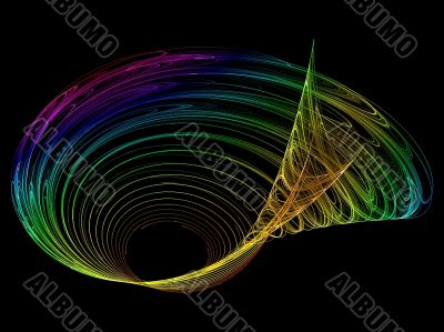 multi coloured shell spiral abstract