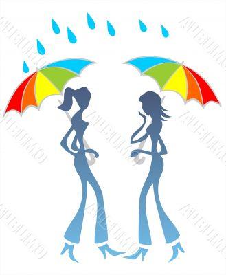 Girls talk under a rain