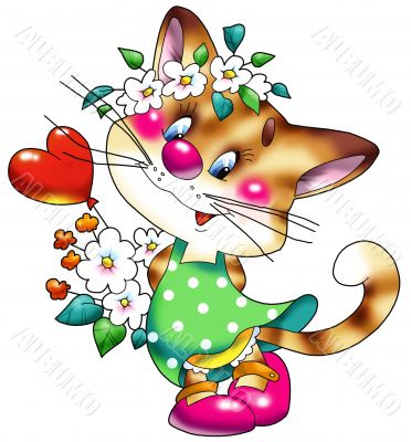 Cheerful, striped, red cat in a green dress.