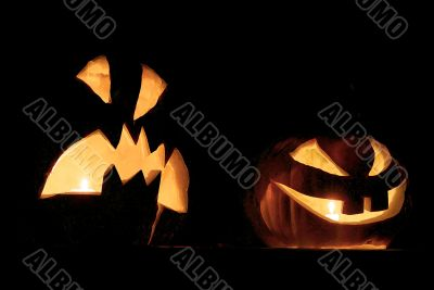 Helloween. Kind and malicious pumpkins