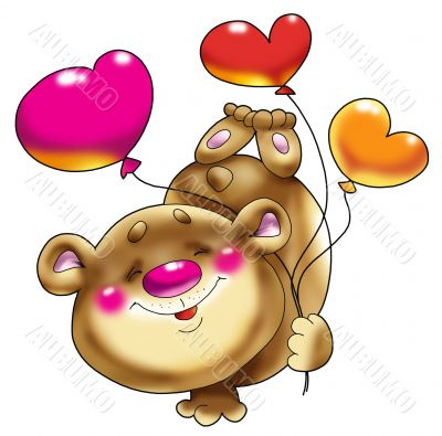 Bear on a paw with balloons.