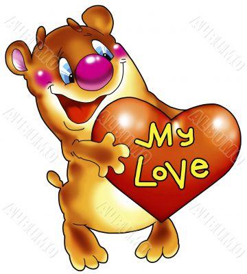 The cheerful bear cub with heart.