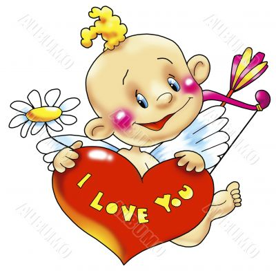 Cupid with heart «I love you»