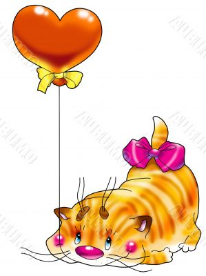 Kitten in a red balloon