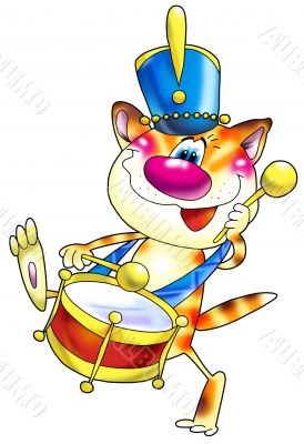 Cat with a drum in the military form.