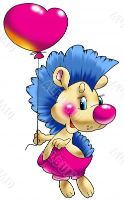 The cheerful hedgehog with a balloon