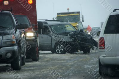 Traffic accident, on icy road